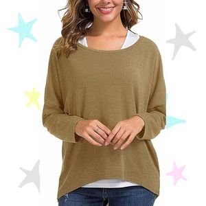 Oversized Pullover Batwing Brown Lightweight